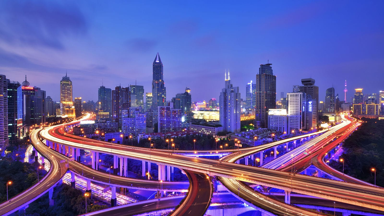 The overpass is the conjunction of the Yan'an Elevated Road and the North-South Elevated Road, Shanghai, China.